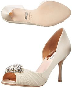 Badgley Mischka Women's Pearson D'Orsay Pump, Vanilla Satin, 6.5 W US