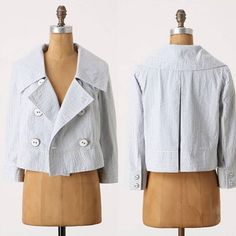 Daughters Of The Liberation jacket Thursday Cropped Blazer by Daughters Of The Liberation. Double-breasted seersucker blazer. Lined. Cotton, polyester and rayon. Size 00. In excellent used condition. Anthropologie Jackets & Coats