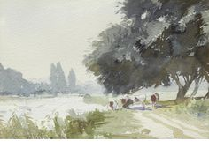 Edward Seago R.W.S. (British, 1910-1974) Riverside near Marlow #watercolor jd