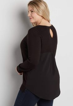 plus size pullover sweater with textured semi-sheer back   maurices