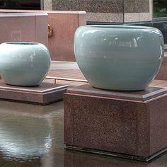 Civilization Landscape, porcelain,  by Qin Feng. These vessels have designs on the inside which can be seen only from the top or through the specially placed holes in the side #Asianart #Sculpturegarden #Ceramics #Crowcollection