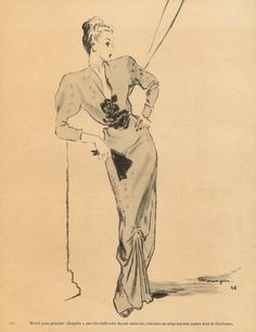 Worth 1946 Mourgue, Evening Gown, Fashion Illustration