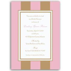 Stripe Pink Gold Bridal Shower Invitations