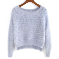 SheIn(sheinside) Light Purple Round Neck Dip Hem Sweater (€16) ❤ liked on Polyvore featuring tops, sweaters, shirts, jumpers, loose sweater, loose long sleeve shirts, loose shirts, sleeve shirt and long sleeve sweaters