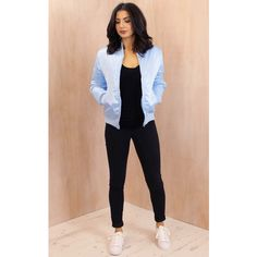 One Nation Clothing ma1 Detail Padded Satin Finish Bomber Jacket in... (1,040 MXN) ❤ liked on Polyvore featuring outerwear, jackets, blue, satin jacket, bomber style jacket, flight bomber jacket, bomber jacket and blouson jacket