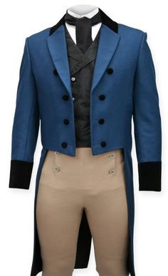 Discontinued and sold out. Regency Tailcoat - Cobalt with Velvet Trim. Mens Blue Coat, Mode Renaissance, Historical Emporium, Blue Tail, Regency Dress, South Indian Jewellery, Period Outfit, Blue Coats, Cosplay
