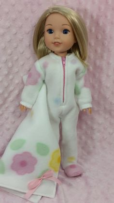 Doll Clothing, Wellie Wisher Fleece Footie Pajamas with Fleece Blanket, American Made to Fit 14 1/2 Inch Girl Dolls