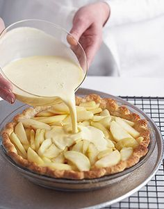 Apple-Custard Pie Pie season is coming! Master our Perfect Pastry Dough, then use it to make elegant French Apple-Custard Pie.Pie season is coming! Master our Perfect Pastry Dough, then use it to make elegant French Apple-Custard Pie. Apple Recipes, Sweet Recipes, French Recipes, Apple Desserts, Apple Tart Recipe, Gourmet Desserts, Passover Desserts, French Desserts, Tart Recipes