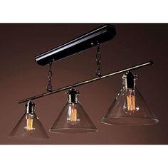 Lola Black Island Light Edison Chandelier with Bulbs LD4012