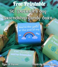 Patrick's Day Friendship Candy Bar Gift Wrappers Wrapping Gift Wrapper, Candy Wrappers, Bar Wrappers, St Pattys, St Patricks Day, Saint Patricks, Holiday Fun, Holiday Crafts, Holiday Ideas