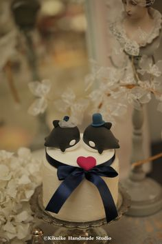 bride and groom orca whale Wedding Cake Topper