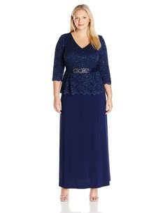 Alex Evenings Women's Plus Size Long a-Line Mock Drs W/ 3/4 Slvs and Embellished Belt Detail at Amazon Women's Clothing store: