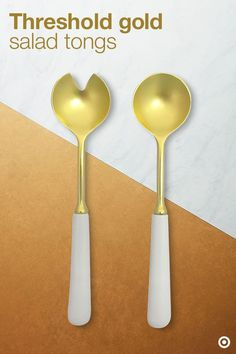 Porcelain & Gold Serving Spoons