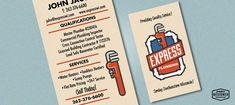 Retro / Vintage business card design for a plumbing company.
