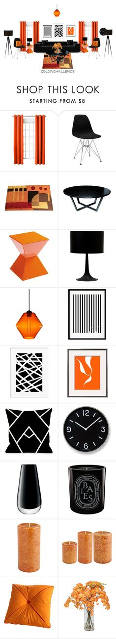 """orange/black color challenge"" by momentarily ❤ liked on Polyvore featuring interior, interiors, interior design, home, home decor, interior decorating, Sun Zero, Allan Copley Designs, Sunpan and Steel 