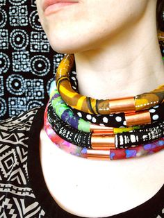 African Batik Fabric Necklace Collar with Copper by RitaVanTassel, $25.00