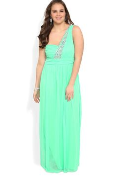 Plus Size Long Prom Dress With One Shoulder Strap With Stone Accents Chiffon USD 136.99 BAPT9SZPS7 - BallProm.com