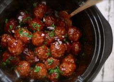 """""""These tasty meatballs will disappear quickly from anyone's holiday party. My mom makes them every year for New Years Eve, and now so do I. These do very well in a slow cooker, as you Crock Pot Slow Cooker, Crock Pot Cooking, Slow Cooker Recipes, Crockpot Recipes, Cooking Recipes, Cajun Cooking, Cookbook Recipes, Recipes Appetizers And Snacks, Dinner Recipes"""
