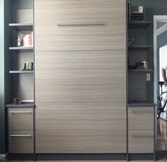 """Figure out additional information on """"murphy bed plans queen"""". Check out our web site. Horizontal Murphy Bed, Hideaway Bed, Space Saving Beds, One Room Apartment, Modern Murphy Beds, Home Entertainment Centers, Old Beds, Murphy Bed Plans"""