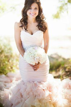 Blush Wedding Dress and white bouquqet- Sofia Katherine Photography