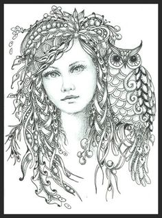 Intricate Fairy Coloring Pages | Fairy of the Forest Norma J Burnell, CZT