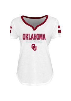 Oklahoma Sooners T-Shirt - White Maroon Sooners Facet Short Sleeve Tee 5fd7b75a7