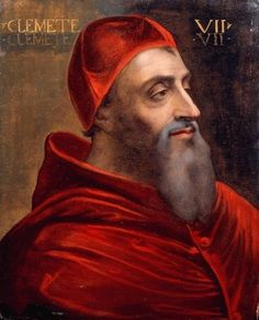 Portrait of Giulio de Medici Pope Clement VII. Cousin of Lorenzo II de' Medici, Duke of Urbino, son of Giuliano de' Medici who was the brother of Lorenzo the Magnificent. Elected to the Papacy, becoming Pope Clement VII. Miguel Angel, Giovanni De Medici, Chateau Saint Ange, Florence, Los Borgia, Charles Quint, Diego Velazquez, Italy History, Royals