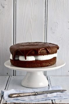 The Best Chocolate Birthday Cake: chocolate cake filled with mascarpone coffee cream covered in chocolate ganache