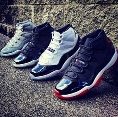 Nike Air Jordan 11.. i just need the cool greys and the space jams to be able to take this pic... but i still have my baby space jams, does tht count?