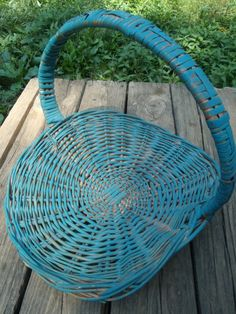 Large Blue Shabby Chic Woven Wicker Flower Basket with Handle - TymelessTrinkets