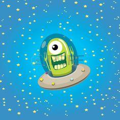 ufo cute alien vector illustration flying saucer Stock Vector