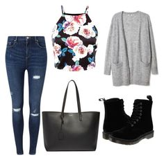 Untitled #56 by filomenamaria on Polyvore featuring polyvore fashion style Miss Selfridge Dr. Martens Yves Saint Laurent clothing