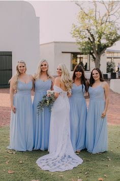 Just love the soft pastel colours of the blue bridesmaids dresses. So flowy and romantic! Blue Bridesmaids, Blue Bridesmaid Dresses, Wedding Dresses, Spring Wedding, Wedding Day, Pastel Colours, Wedding Styles, Wedding Venues, Romantic