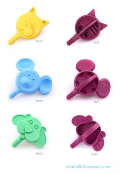 Z-Vibe Animal Tips for oral motor mouthing and sensory exploration.  BUT, their backsides have a secret: a hierarchy of bite blocks!  Click to read more and watch the instructional video on jaw grading.  Visit pinterest.com/arktherapeutic for more #oralmotor therapy techniques