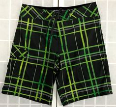b0d82e6cc5 Checkered Board Shorts Size 36 Neon Green Gray Mossimo Swim Trunks Bathing  Suit #boardshorts #bathingsuit #fitness #surf #california #skateboarding