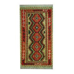 Herat Oriental Afghan Hand-woven Tribal Vegetable Dye Kilim Light / Red Rug