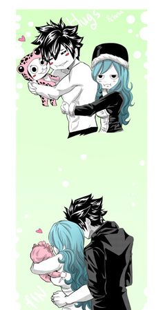 Gruvia and Frosch. And future Gruvia baby! Fairy Tail Meme, Fairy Tail Juvia, Fairy Tail Gray, Fairy Tail Ships, Kawaii, Juvia And Gray, Fairy Tail Guild, Fairy Tail Couples, Love Fairy