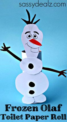 Learn how to make a cute Frozen Olaf toilet paper roll for kids! This Olaf art project is so fun because kids can make him dance and walk!
