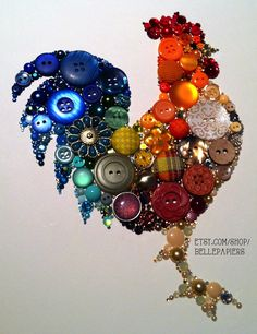 Button & Swarovski Rooster! Button Art for Kitchen! #buttonart #buttons #swarovski #kitchen #homedecor #handmade #crafts #diy #chicken #rooster #kitchenrooster #roosterart #gallo