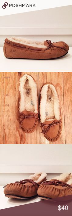 UGG Bella Slippers in Chestnut Super comfortable and warm shearling line slippers. Perfect for the house, dorm or running a quick errand (def wouldn't advise wearing outside extensively). Wear with or without socks. I normally wear a 7 and these were quite snug! * Soft suede uppers with classic moc-toe * Fluffy sheepskin lining * Leather lace closure * Leather sole UGG Shoes