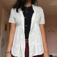 """NWOT white crochet short sleeve cardigan cute white cardigan in a crochet like fabric and short sleeves. perfect condition, NWOT. tag says """"yarn art"""" price is negotiable  super fast shipping  i can bundle  no trades  // tags: unif, asos, urban outfitters, vintage, brandy Melville, topshop, Zara, nasty gal, free people, LF Urban Outfitters Sweaters Cardigans"""