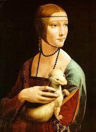 """A """"Dama com Arminho"""" foi pintada pelo artista Leonardo da Vinci (1485-1490), feita com tinta a óleo, com 54 cm x 39 cm. O genêro utilizado: menor (o retrato- importante)"""