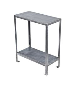 high-quality c. 1930's american vintage industrial multi-purpose two tier heavy gauge welded joint steel side table with square-shaped floor plates