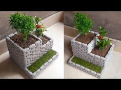 Flower pot making from styrofoam and cement   How to make flower pot - YouTube Cement Flower Pots, Cement Pots, Diy Crafts For Home Decor, Creative Crafts, House Plants Decor, Plant Decor, Garden Crafts, Garden Projects, Garden Ideas
