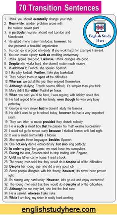 English Adjectives, English Sentences, English Phrases, Learn English Words, English Study, Transition Sentences, Transition Words And Phrases, English Transition Words, Words To Use