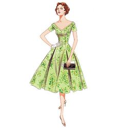 1950s Inspired Misses Princess Seam Full Skirt Party Dress Sewing Pattern, Reissue of 1957 Vogue Pattern 2903 sizes 6, 8, 10 uncut