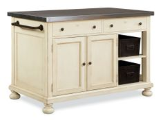 Shop for Paula Deen by Universal Kitchen Island, and other Kitchen Islands at Oskar Huber Furniture in Southampton, PA and Ship Bottom, NJ. Slide out table with casters. Two doors. Two metal storage bins. Kitchen Nook, Kitchen Storage, Kitchen Ideas, Kitchen Design, Kitchen Decor, Kitchen Carts, Kitchen Stuff, Kitchen Inspiration, Paula Deen