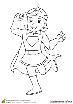 Coloriage et idée de déguisement pour Mardi gras, devenir une super héroïne comme Wonder Woman, page 12 sur 24 sur HugoLescargot.com