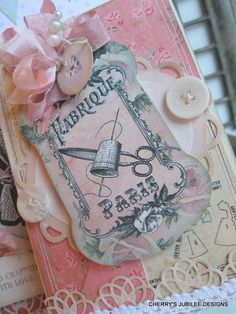 shabby chic VINTAGE SEWING pattern pocket with card and matching tag decoration gift set stationary