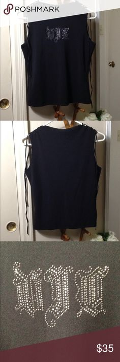 VERSACE Black Tank w/ Lace-up Shoulders Rhinestones w/ initials VJC (Versace Jeans Couture). Lace-up shoulders w/ silver tone metal work. There is a tiny bit of fraying on the shoulder as shown in pic #4. Other than that, great condition. Versace Jeans Couture Tops Tank Tops